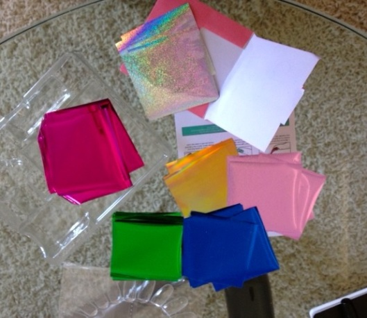 Speaking of foil... look at these awesome colors! The sheets of foil were incredibly thin. Even thinner than a Listerine Strip. (Anyone remember those??)